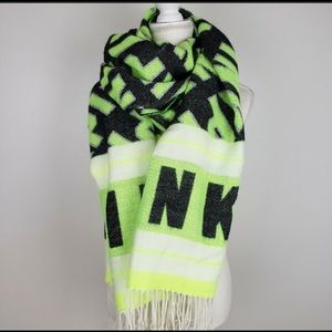 Scarf from PINK. Black and lime green.